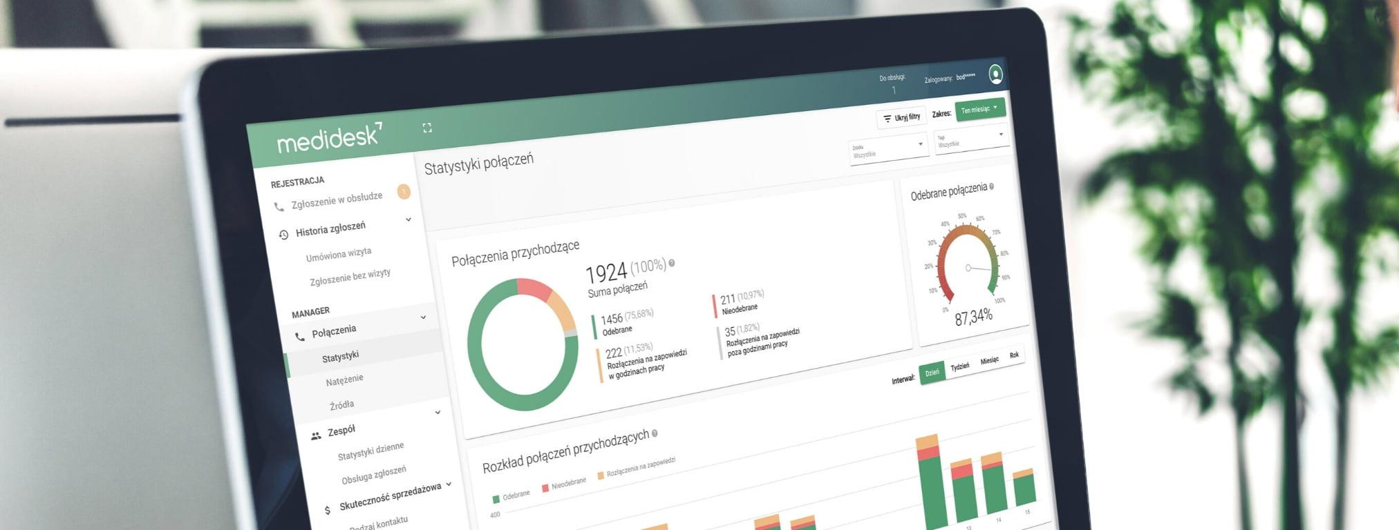Analiza połączeń w aplikacji Medidesk